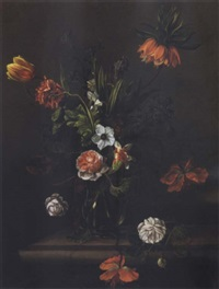 still life of flowers in a glass vase on a ledge by anna elisabeth ruysch