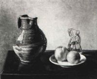 still life of a crockery pitcher, carafe and oranges on table by juan lascano