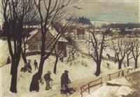 winterliche landschaft (etzenhausen) by richard (huber-dachau) huber