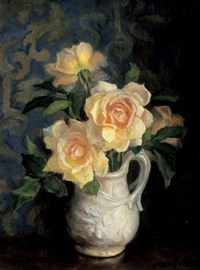 roses in white jug by beatrice hagarty robertson