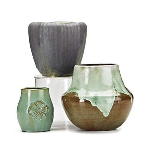 bulbous vase in frothy green over sienna brown vase in violet with molded reeding and cabinet vase in seafoam blossoms 3 works by arequipa pottery