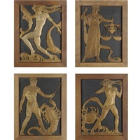 zodiac panels (set of 4) by c.a. llewellyn- roberts