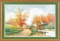 landscape with a mill by mary b. leisz