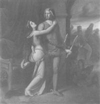 siegfrieds abschied von kriemhild, im hintergrund hagen by ludwig des coudres