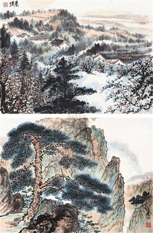 山水 (2 works) by xiao jianchu