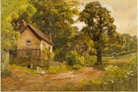 children by a cottage in a summer landscape by edward henry holder