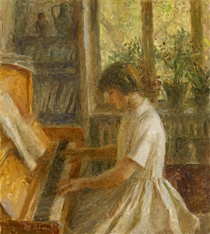 the artists granddaughter playing the piano by tatiana yablonskaya