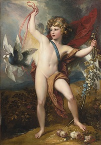 cupid releasing two doves by benjamin west