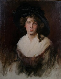 lady in a black hat by walter macewen
