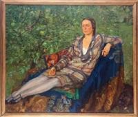 dama en el jardín by rafael argeles y escriche