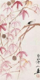 花卉草虫 立轴 设色纸本 by qi baishi