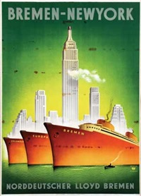norddeutscher lloyd bremen bremen-new york by willy hanke