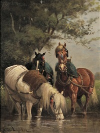 three cart horses watering at a stream by scott leighton