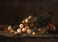 stilleben med persikor, plommon, druvor och melon by michiel simons