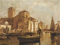 kanalpartie bei venedig by gustav adolf van hees