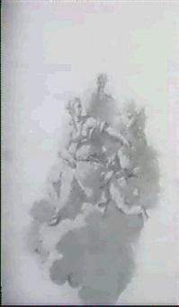 zwei weibliche gestalten auf einer wolke schwebend von putton begleitet by giovanni raggi