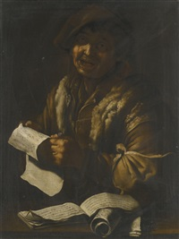 a peasant singing, holding a musical score by giacomo francesco cipper