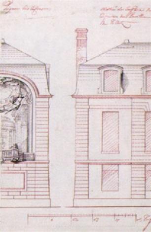 fasadritning för pavillon de tillet by gilles marie oppenort
