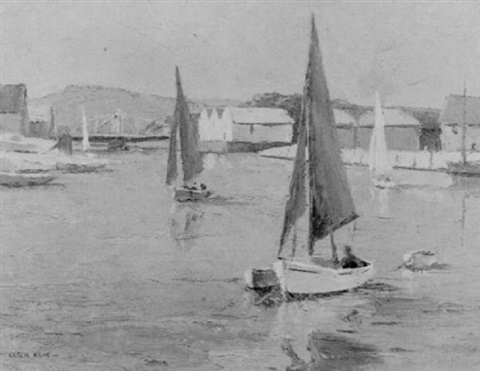 sailingboats on the river arun littlehampton by leslie kent