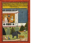 a scene from the story of dhola marvani: dhola, the prince, seated with a maiden on a terrace, an elephant and a tiger in the foreground, alongside two guards smoking a hookah in the palace grounds by anonymous-indian (19)