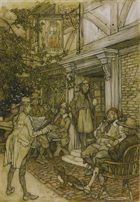 he used to console himself by frequenting a kind of perpetual club of the sages, philosophers and other idle personages, which held its sessions before a small inn by arthur rackham