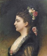 bildnis einer dame mit blumenschmuck im haar by léon joseph florentin bonnat