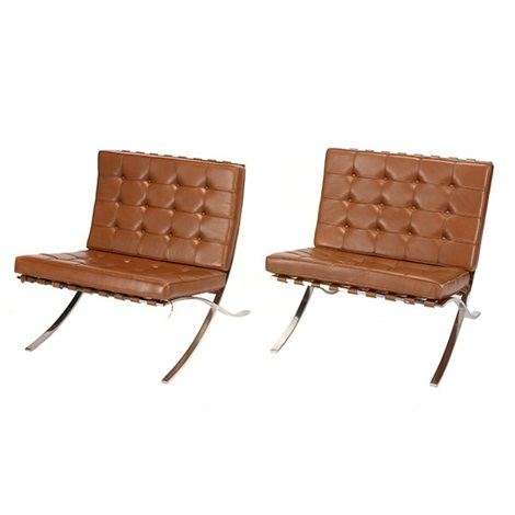 Pair Of Knoll Mies Van Der Rohe Barcelona Chairs By Ludwig Mies Van