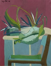 pot plants and a chair by mathijs isak (thijs) nel