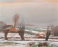 heather landscape in winter by leo gestel