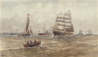 a square-rigger and other shipping on the river by m. e. adams
