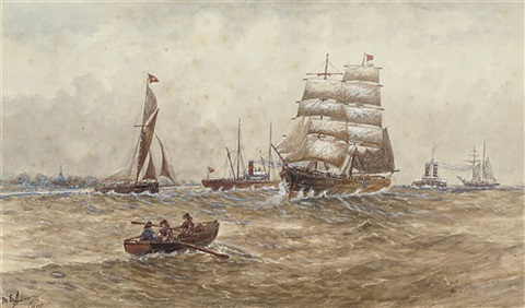 a square rigger and other shipping on the river by m e adams