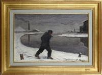 ouvrier dans un paysage enneigé by françois rasquin