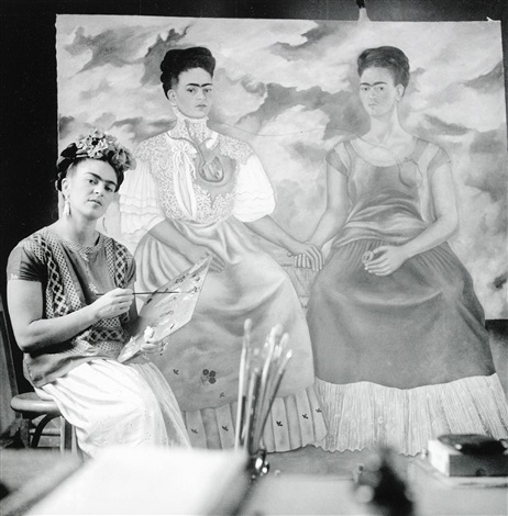 frida painting the two fridas by nickolas muray