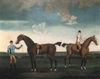 flying childers and dimple on a racecourse, other racehorses beyond by daniel quigley