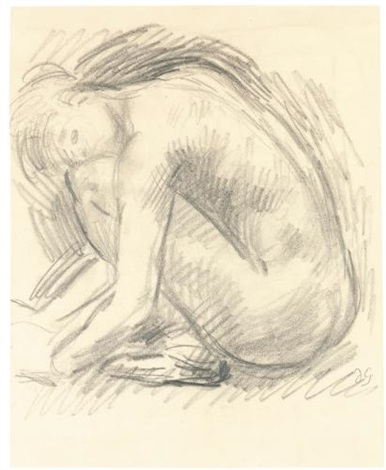 study of a crouching nude by duncan grant