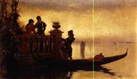 a gondolier's serenade at the lido, with a view of venice beyond by adelchi de grossi