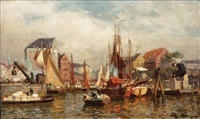 boats in a harbour by julius friedrich ludwig runge