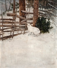a hare in a winter landscape by johan reinberg