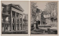 salem academy, the inner court (moravian settlement, old salem) (+ the belo house; 2 works) by louis orr