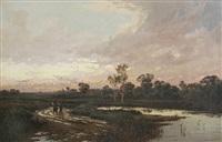 weite landschaft mit gewässer und einer bäuerin mit knaben by john horace hooper
