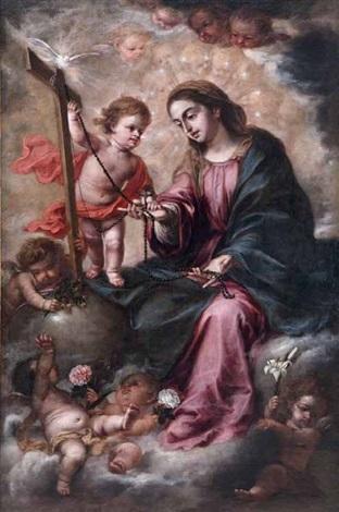 virgen del rosario con el niño by juan de valdés leal