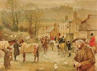 changing horses with belvoir castle in background by kenneth wynn