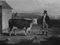 mr. hodges, of tredegar, monmouthshire with his prize    cow in a landscape by j. f. mullock