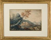 idyllische landschaft mit einem schäferpaar by claude louis langlois de sézanne