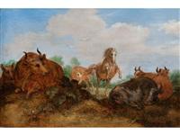 springender hengst zwischen liegenden kühen auf einer weide by gillis claesz de hondecoeter