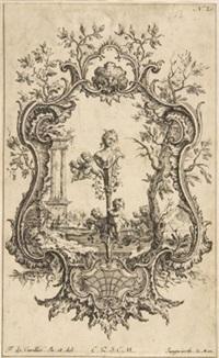 kartusche aus muschelwerk und einer weiblichen herme (after f. de cuvilles) by franz xaver jungwirth