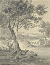 herdsmen watering cattle by a river by james baynes