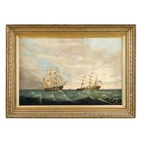 two american ships in open water by american school (19)