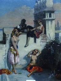 paysage orientaliste, femmes sur une terrasse à alger by emmanuel joseph lauret