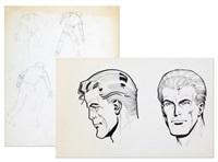buck danny (+ trois études de personnages (study); 2 works) by victor hubinon